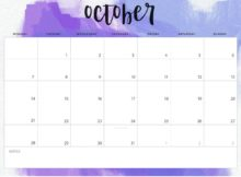 October 2019 Desk Calendar Template