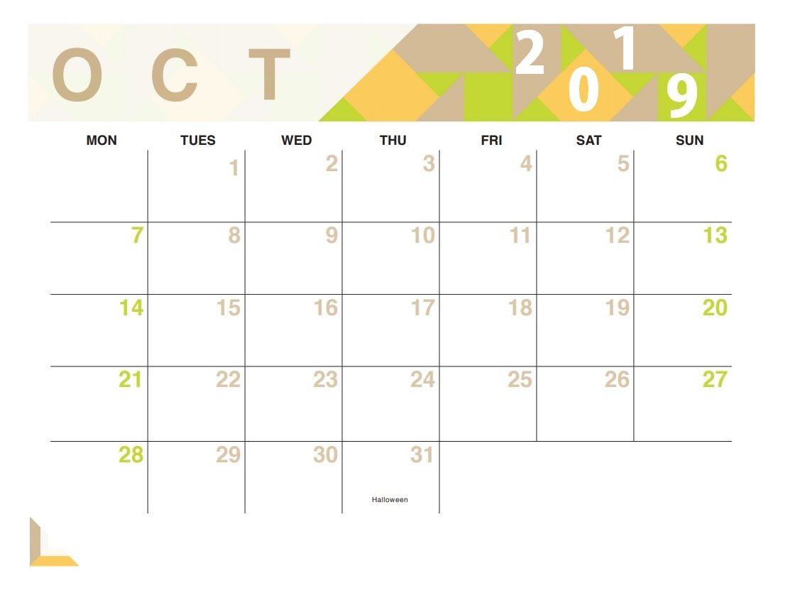 October 2019 Desk Calendar To Print