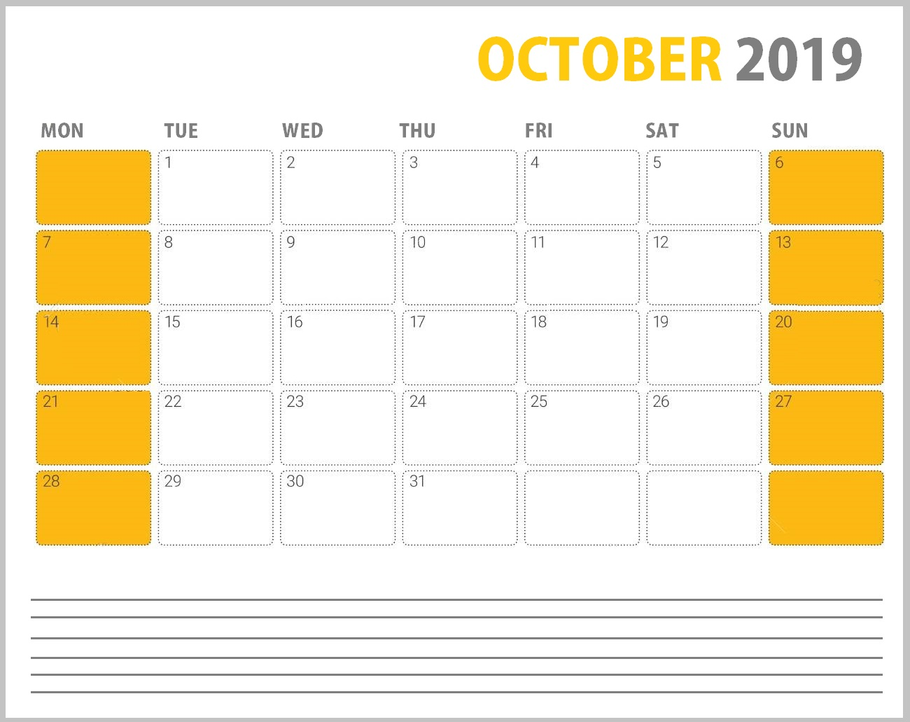 October 2019 Desk Template