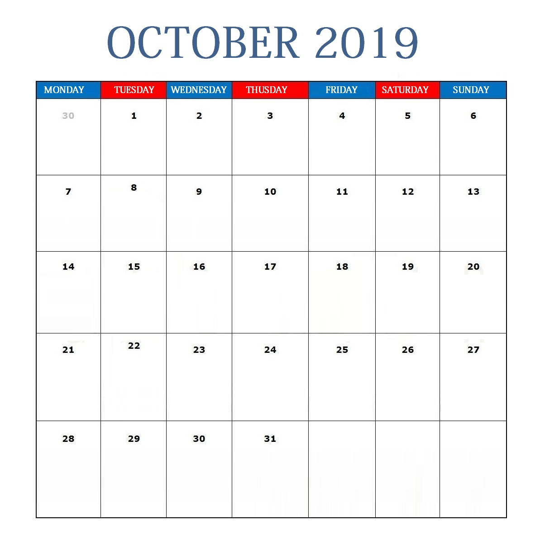 October 2019 Editable Calendar