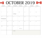 October 2019 Holidays Calendar Canada