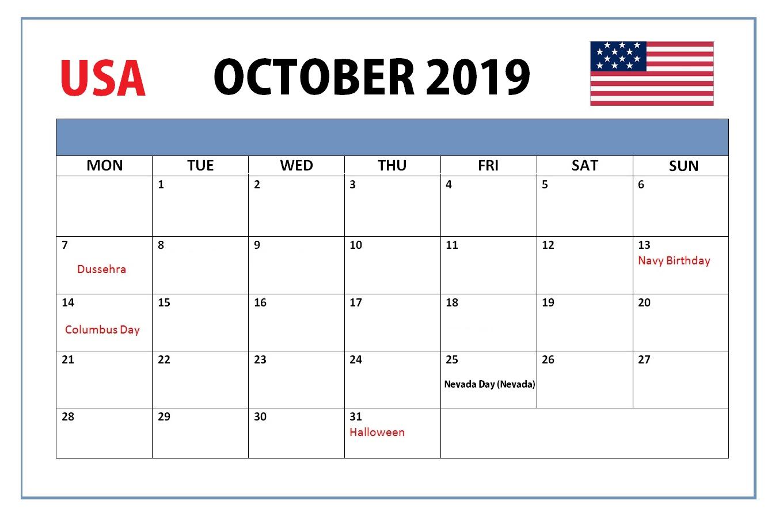 October 2019 Holidays Calendar United States