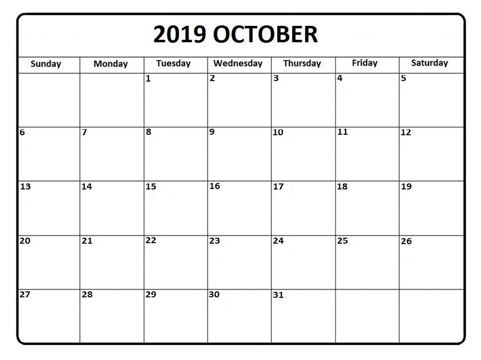 October 2019 Printable Calendar Template