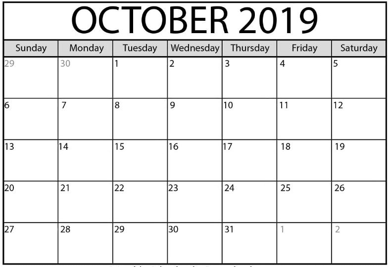 October 2019 Printable Calendar with Editable Notes