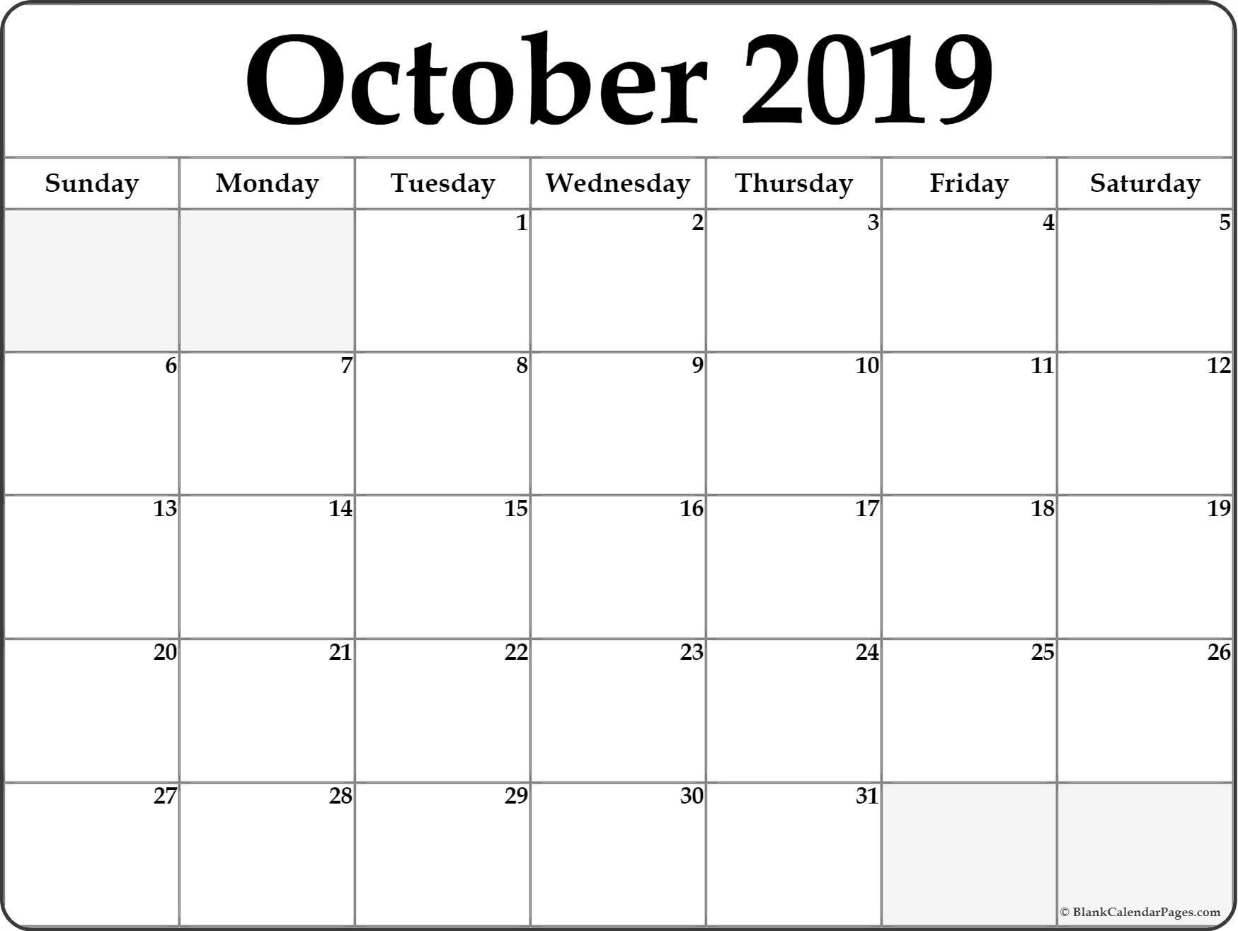 October Calendar 2019 Template