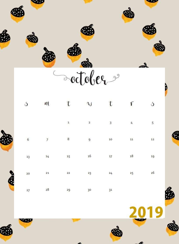 Print October 2019 Wall Calendar