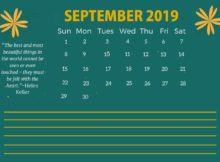 Printable September 2019 Quotes Calendar