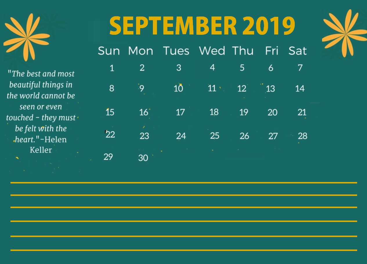 Printable September 2019 Quotes Calendar