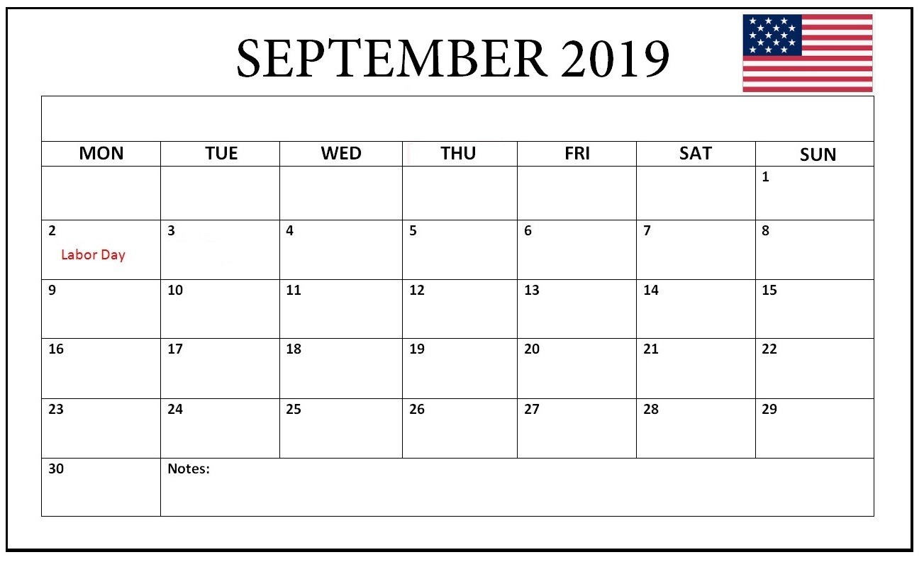 September 2019 USA Bank Holidays Calendar
