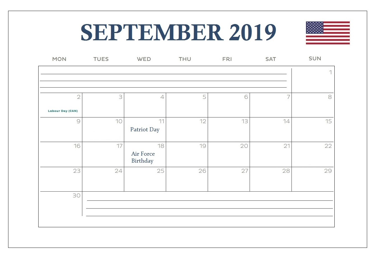 September 2019 USA Federal Holidays Calendar