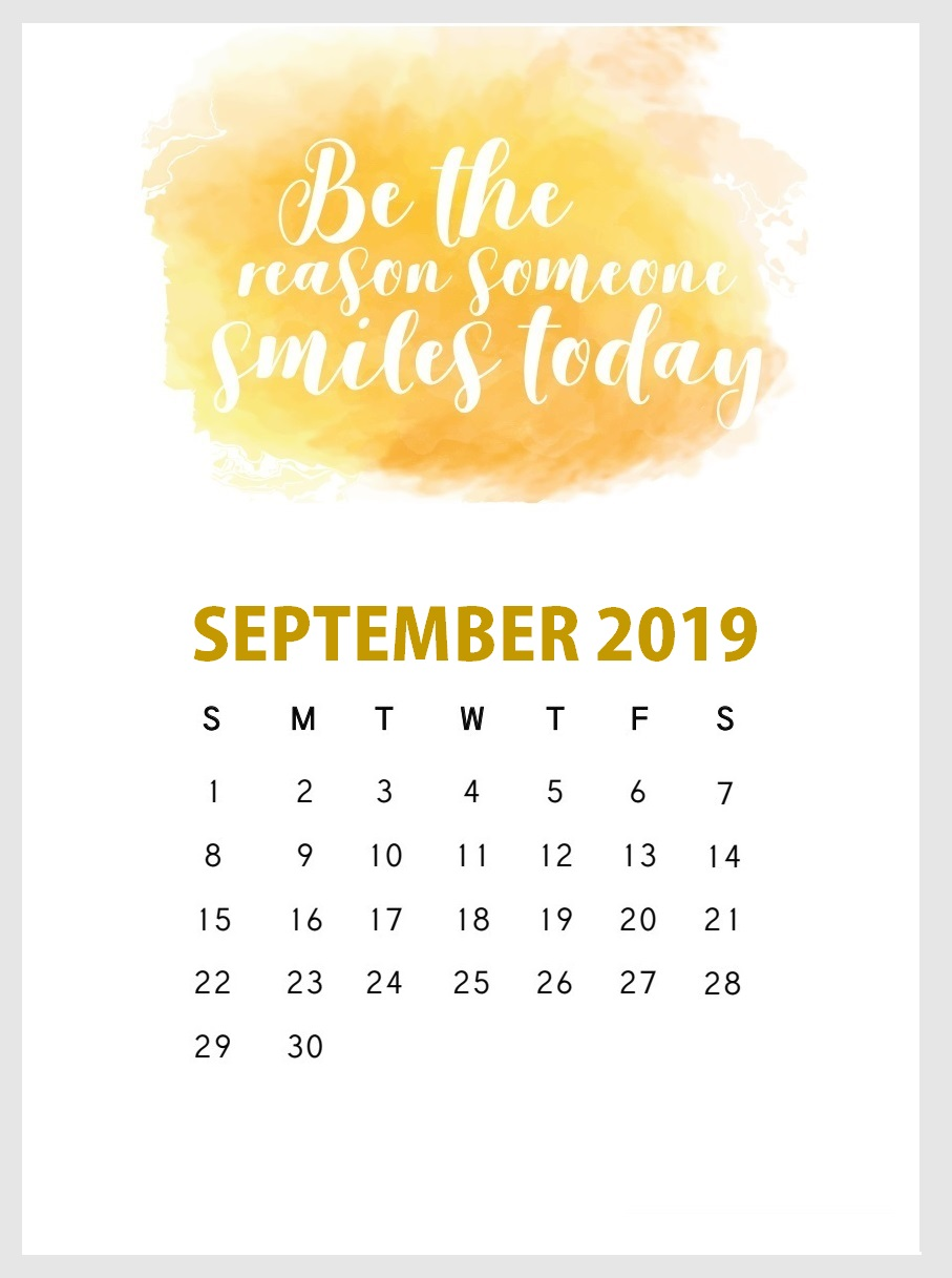 September 2019 Wall Calendar With Quotes