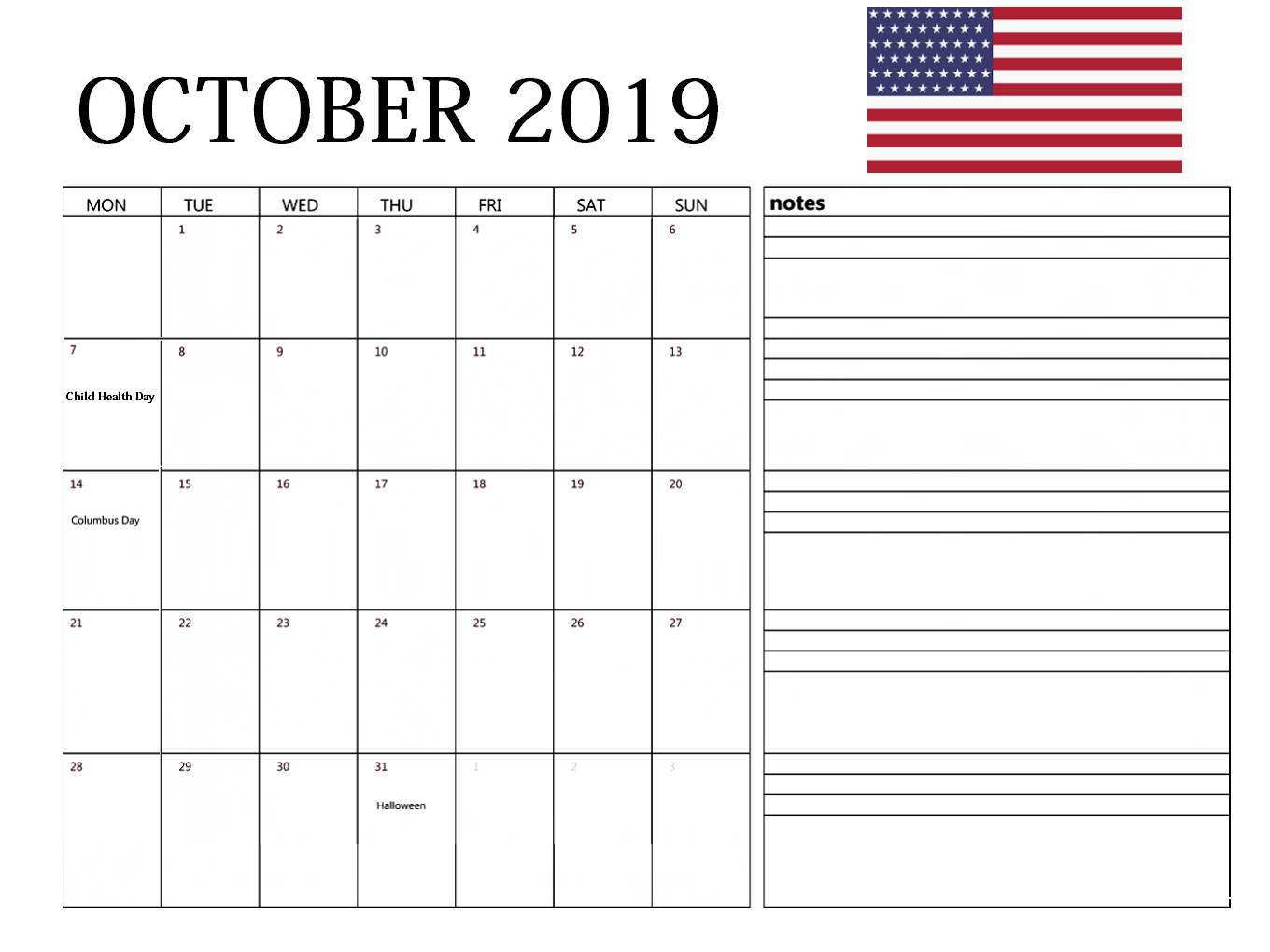 USA October 2019 Holidays Calendar
