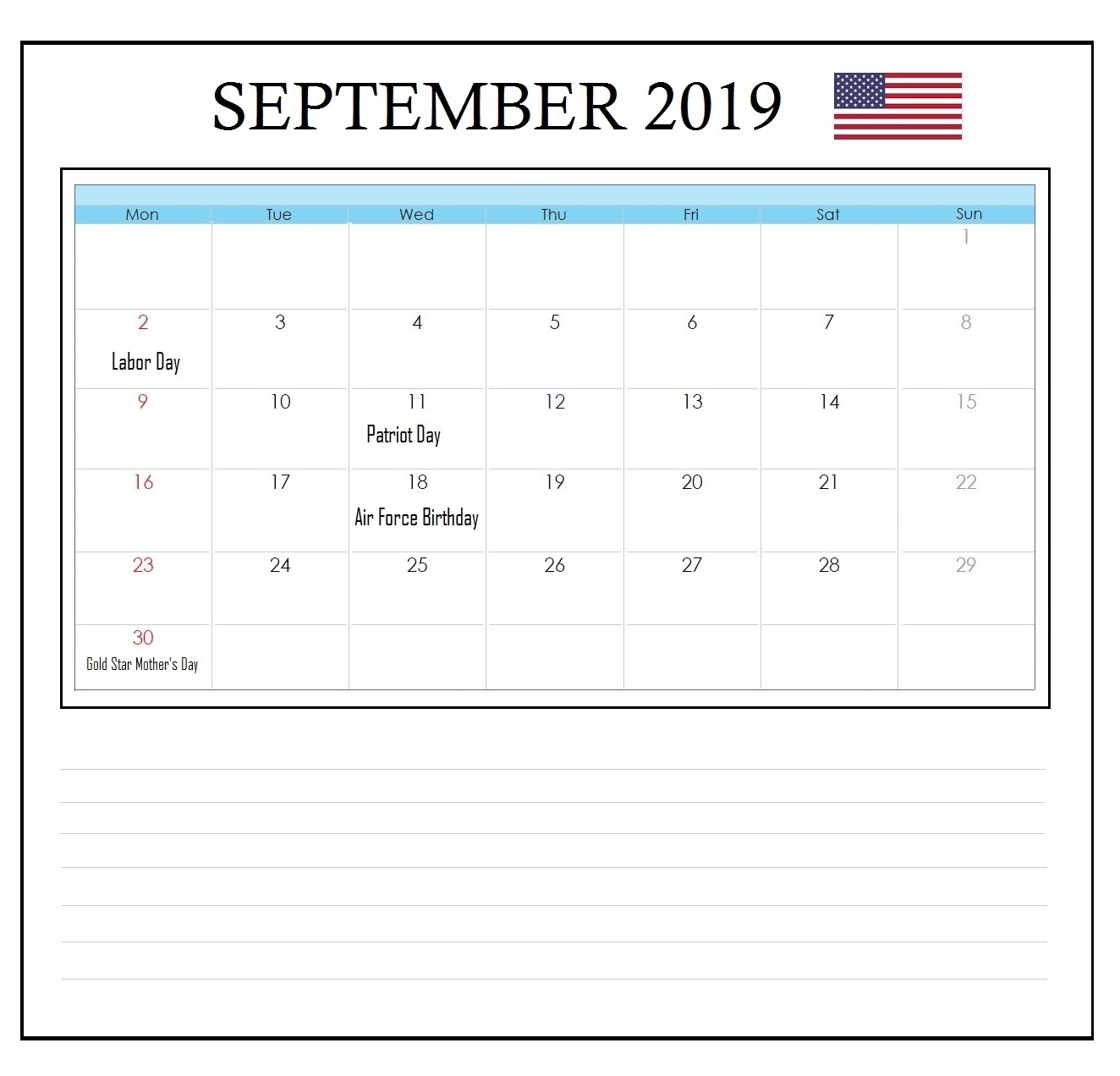USA September 2019 Public Holidays Calendar