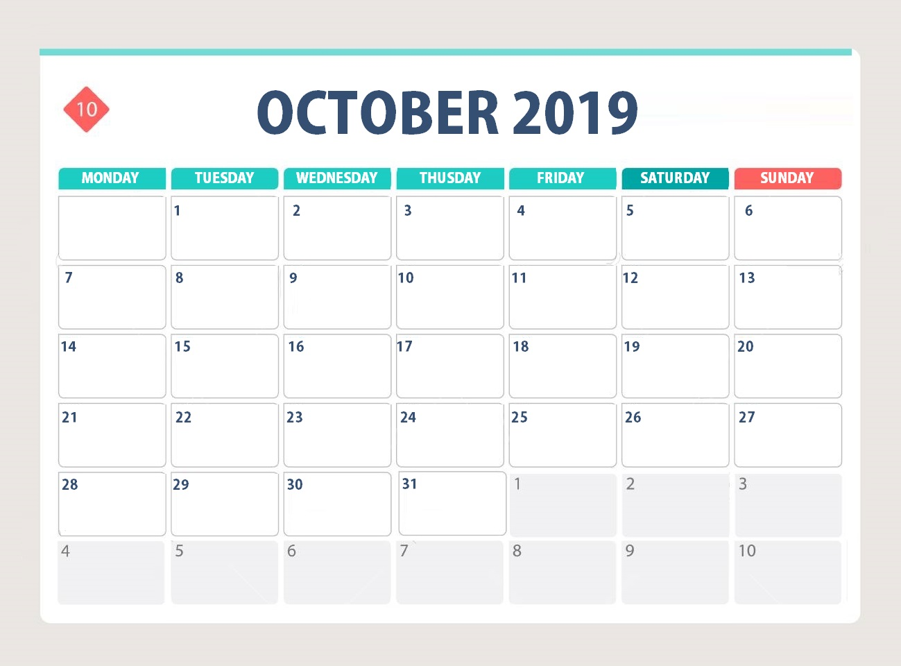 Unique October 2019 Desk Calendar