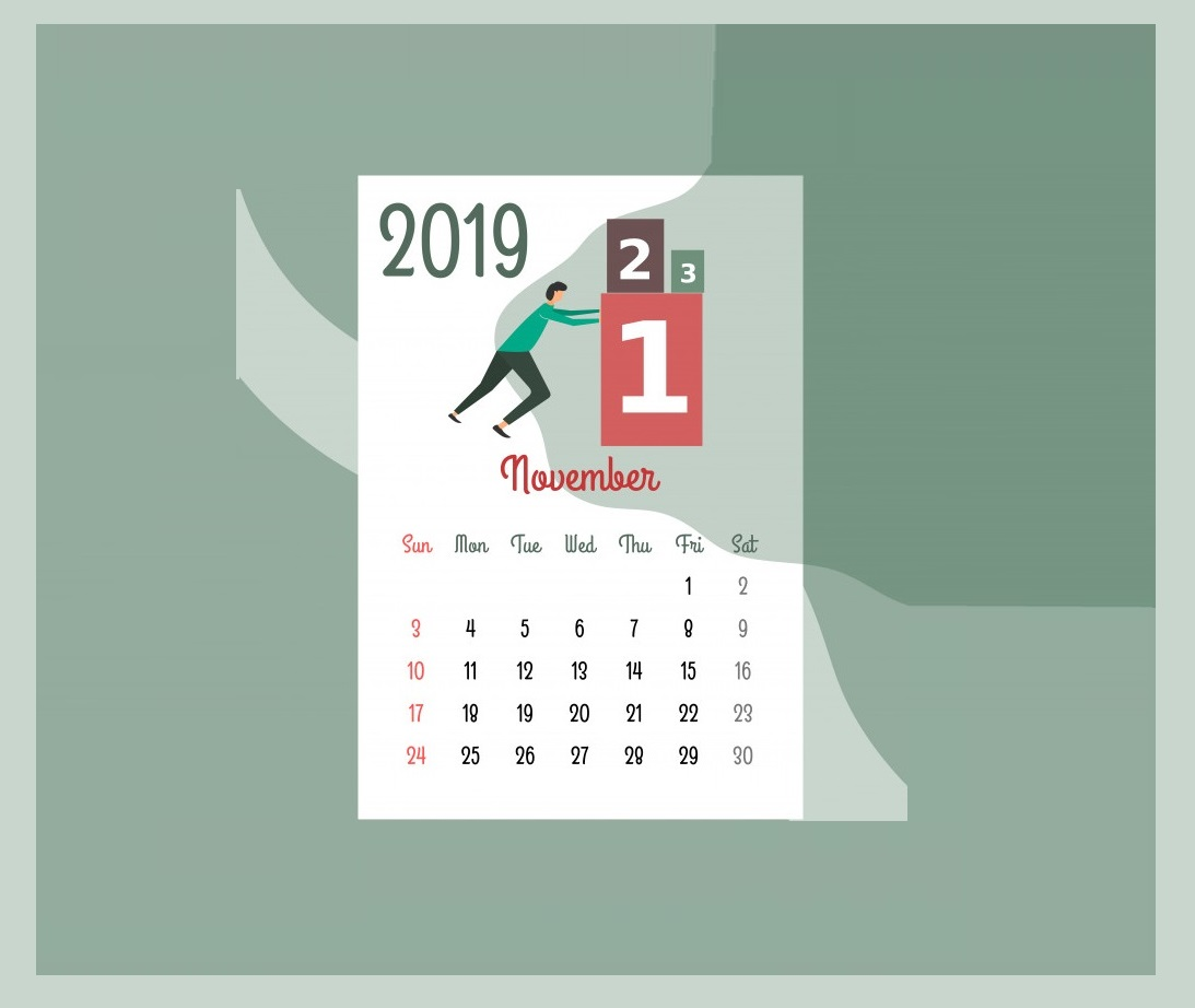 Beautiful November 2019 Calendar Design