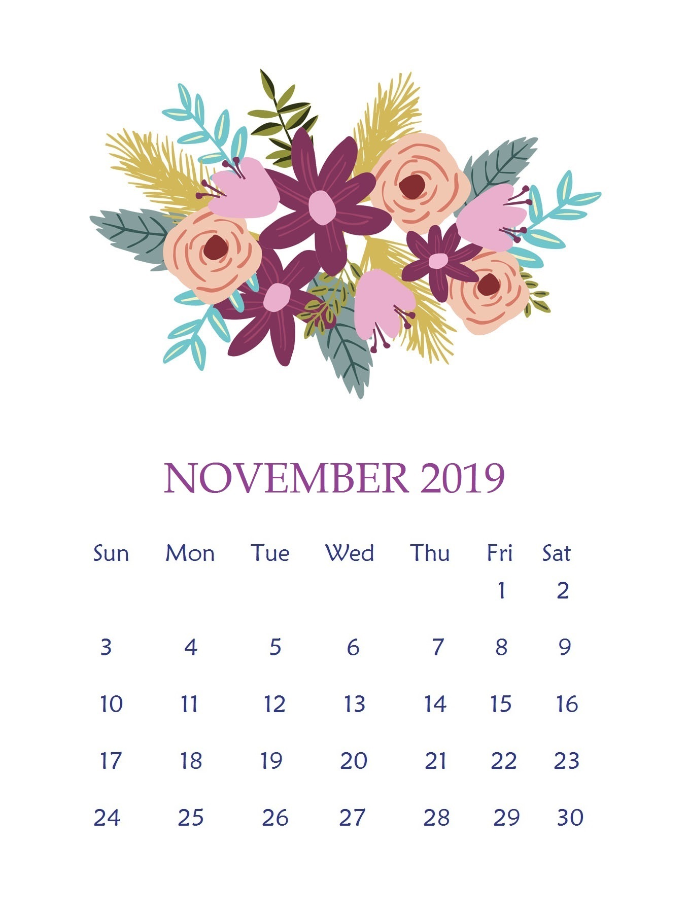 Beautiful November 2019 Floral Calendar