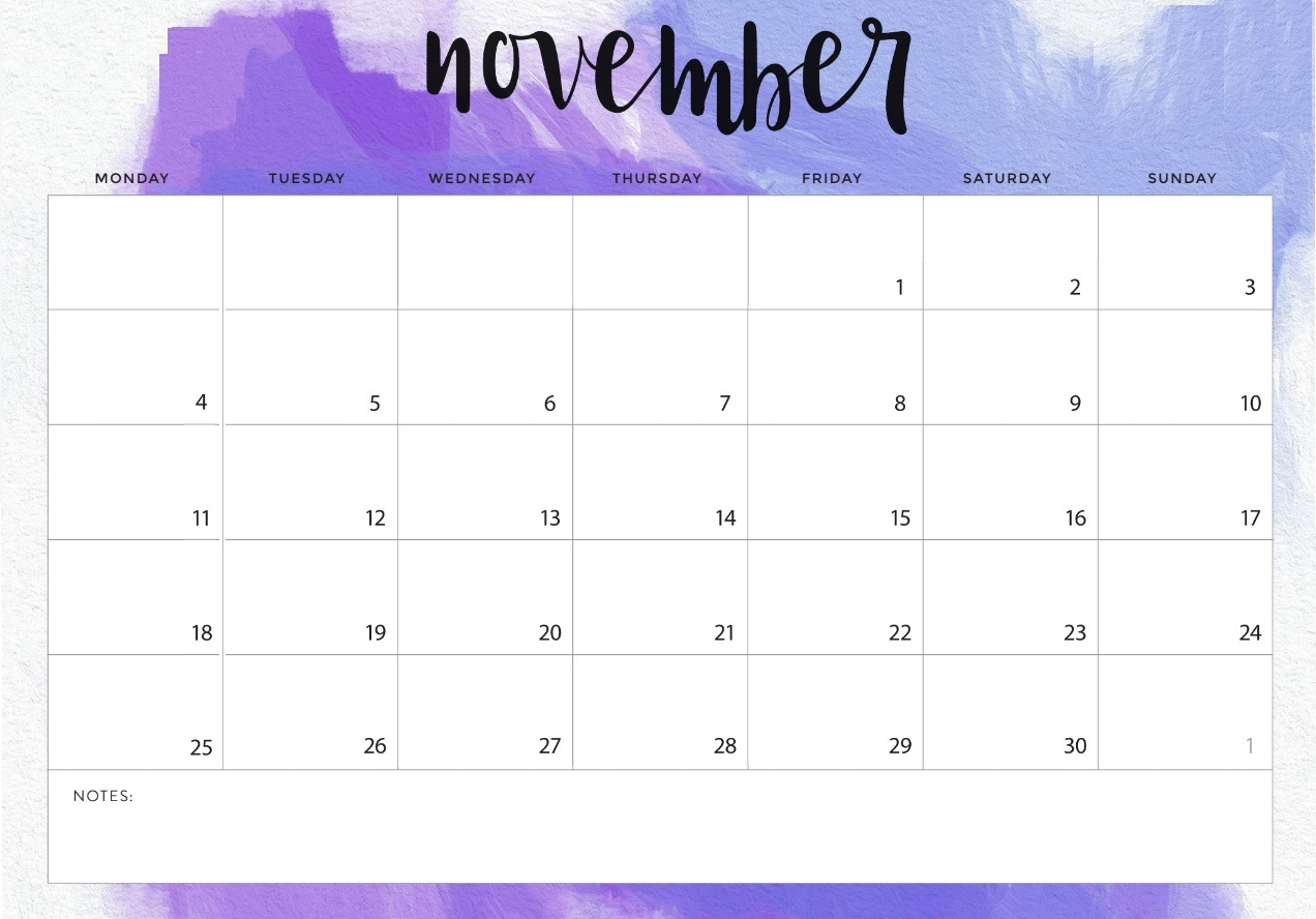 Blank November 2019 Desk Template