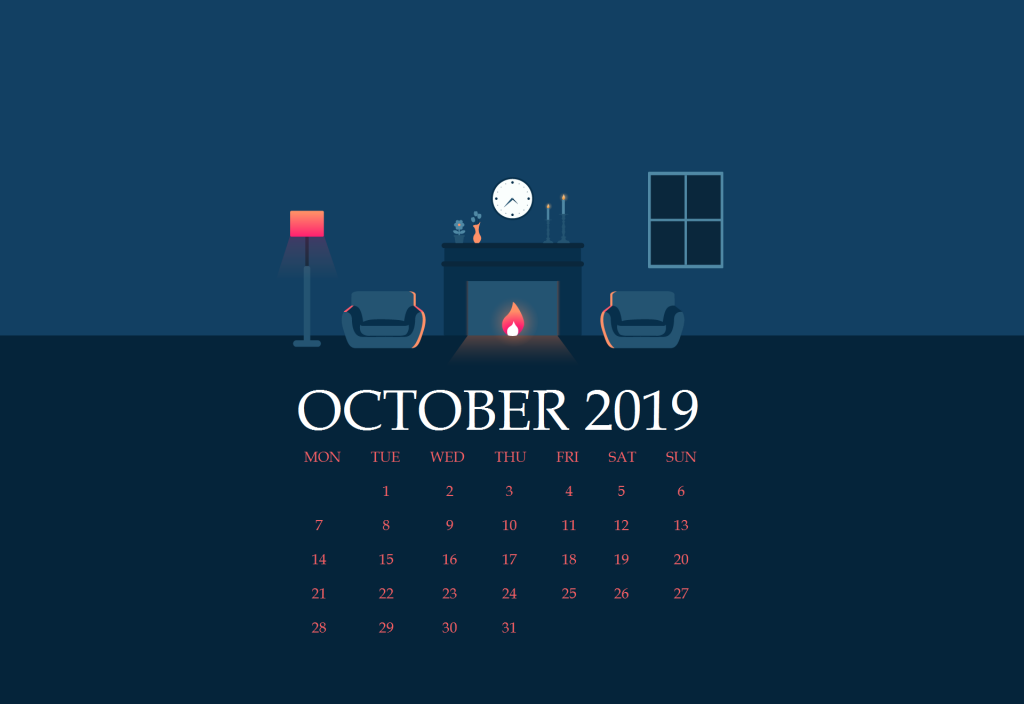 Cute October 2019 Desktop Background Calendar