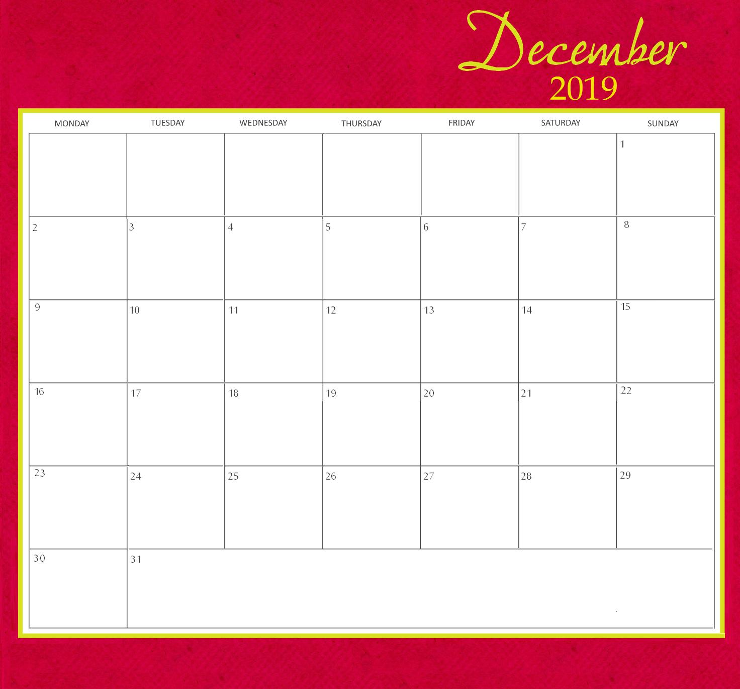 December 2019 Calendar Template