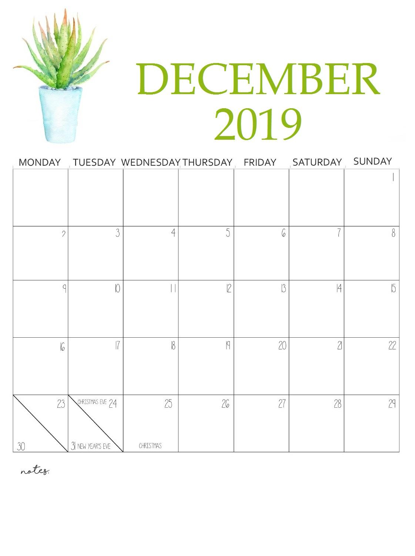 December 2019 Wall Calendar