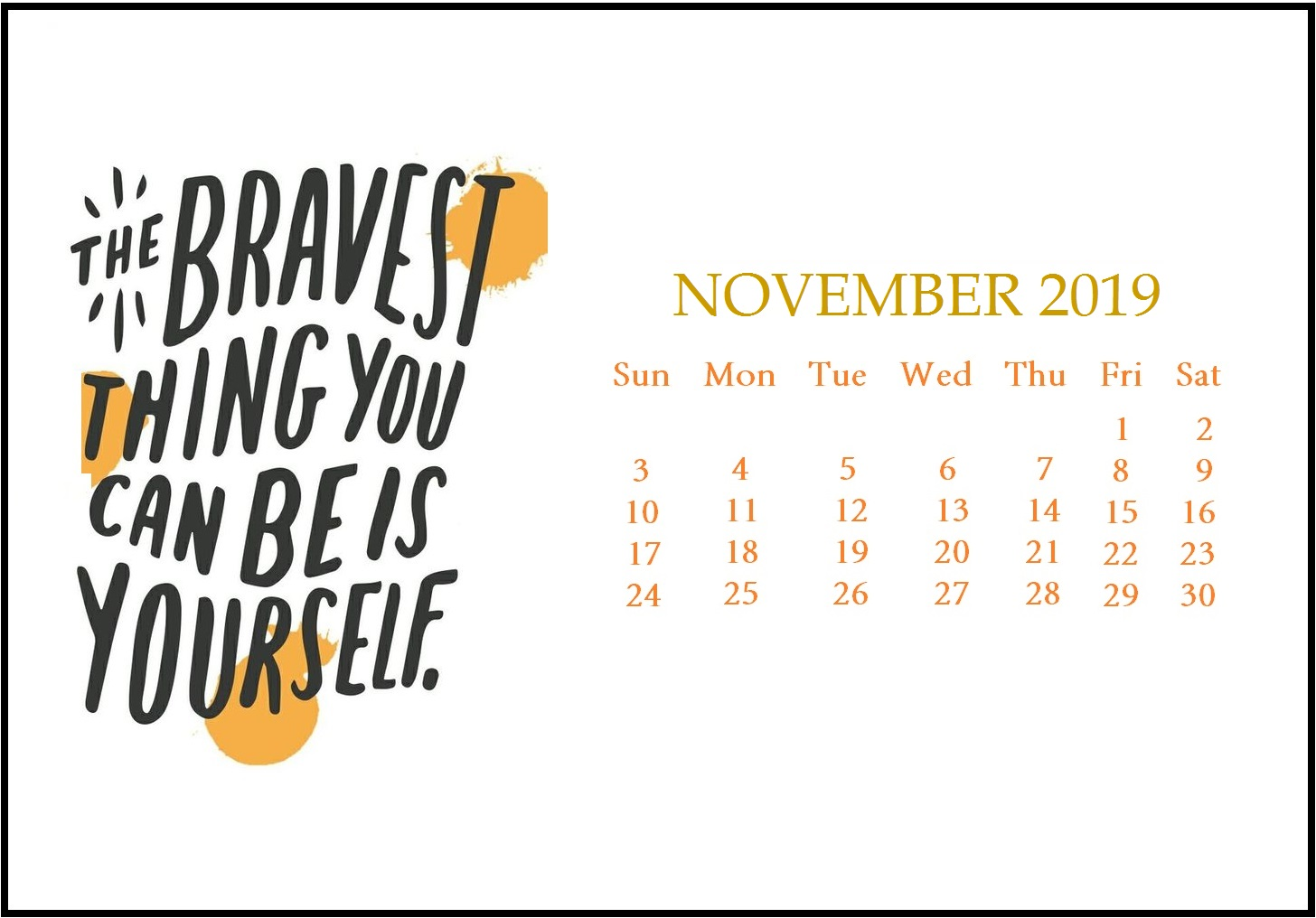 Decorative November 2019 Calendar Designs