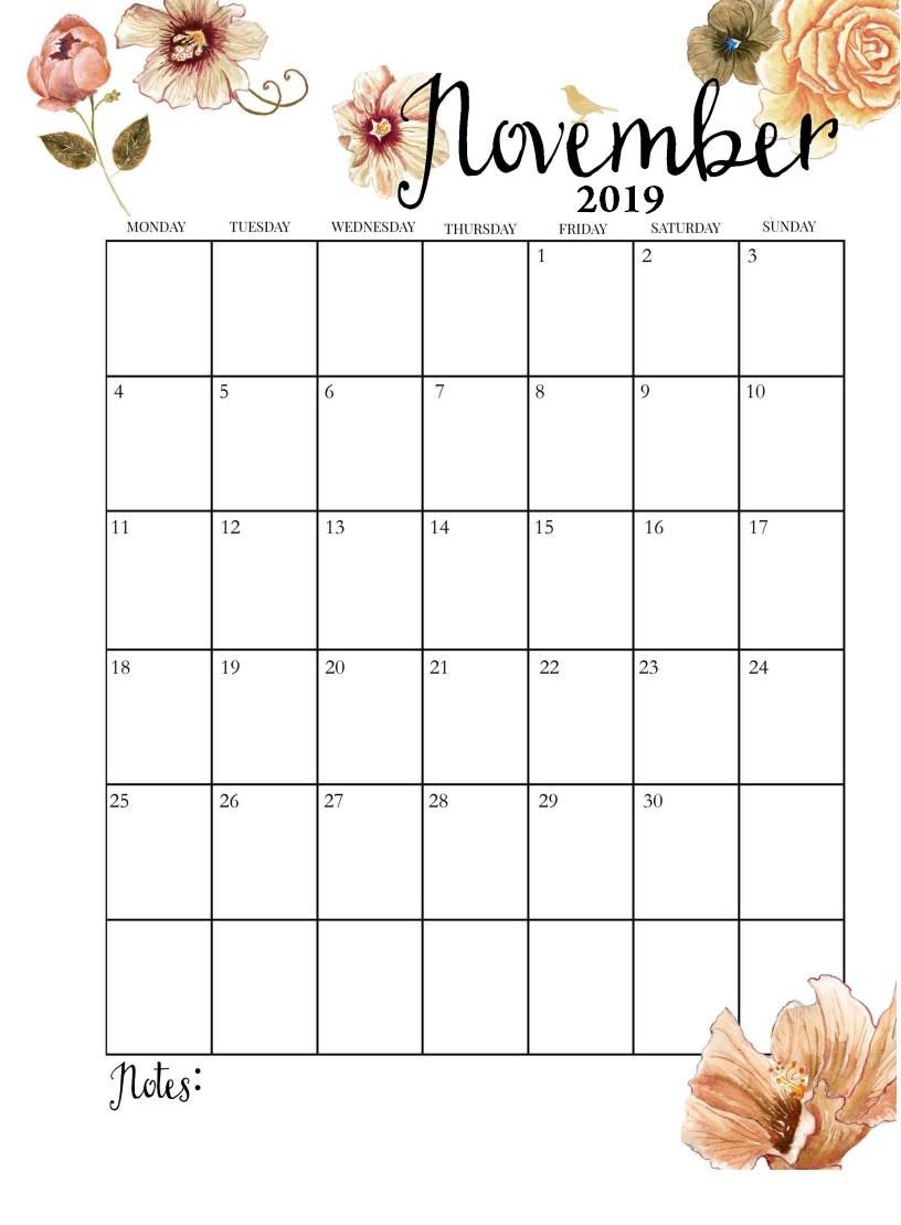 Floral November 2019 Cute Calendar