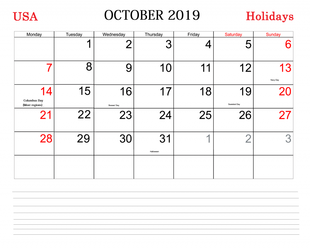 October 2019 Calendar with America Holidays