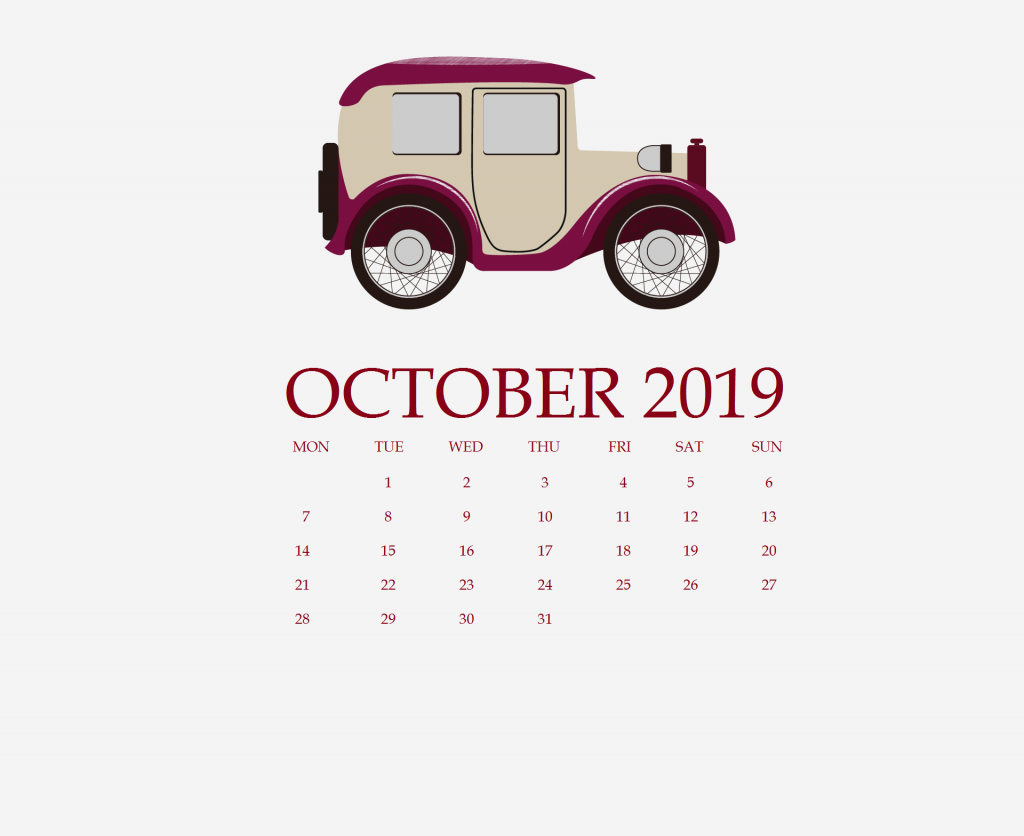 October 2019 Desktop Calendar