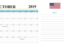 October 2019 Holidays Calendar United States