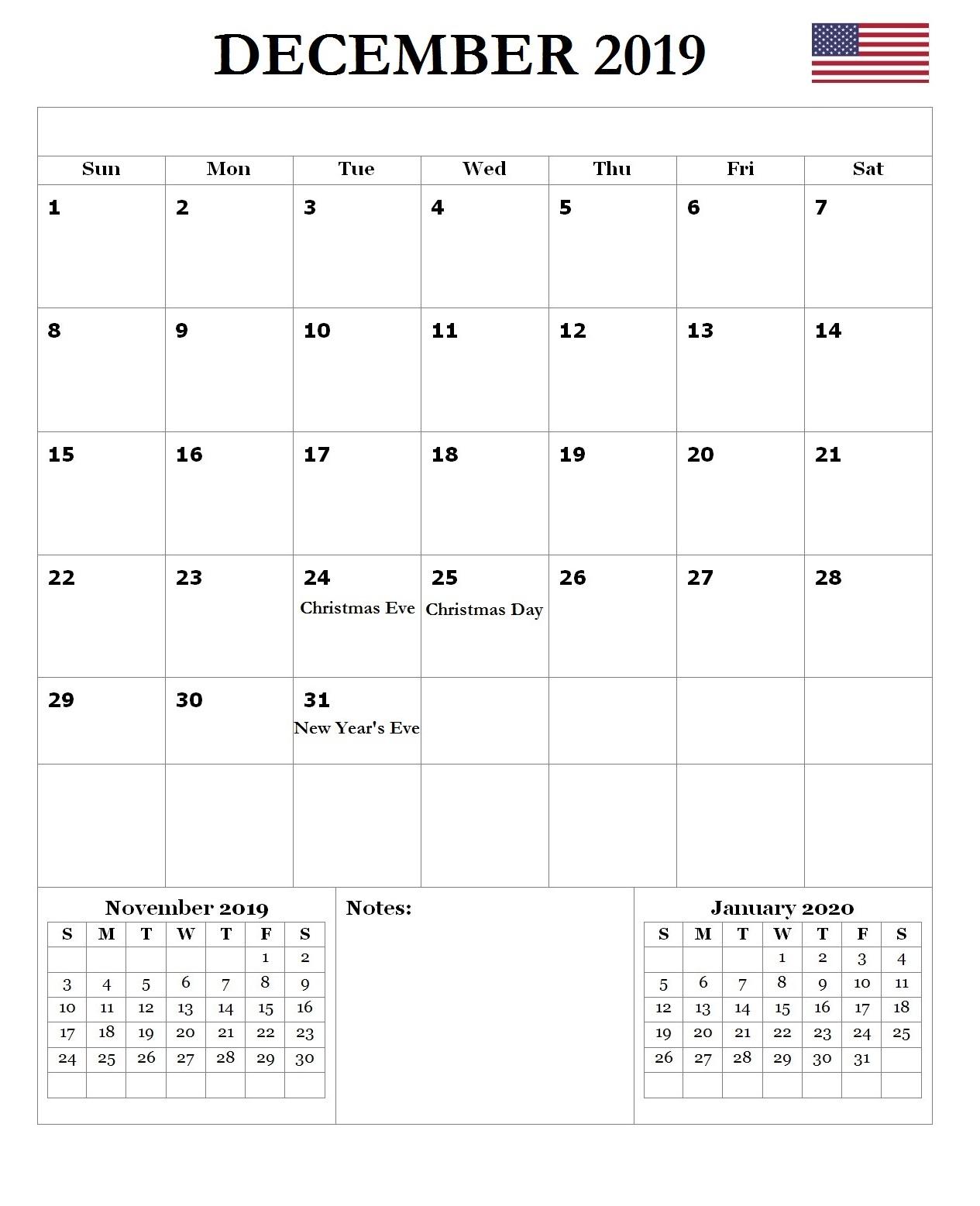 2019 December USA Federal Holidays Calendar