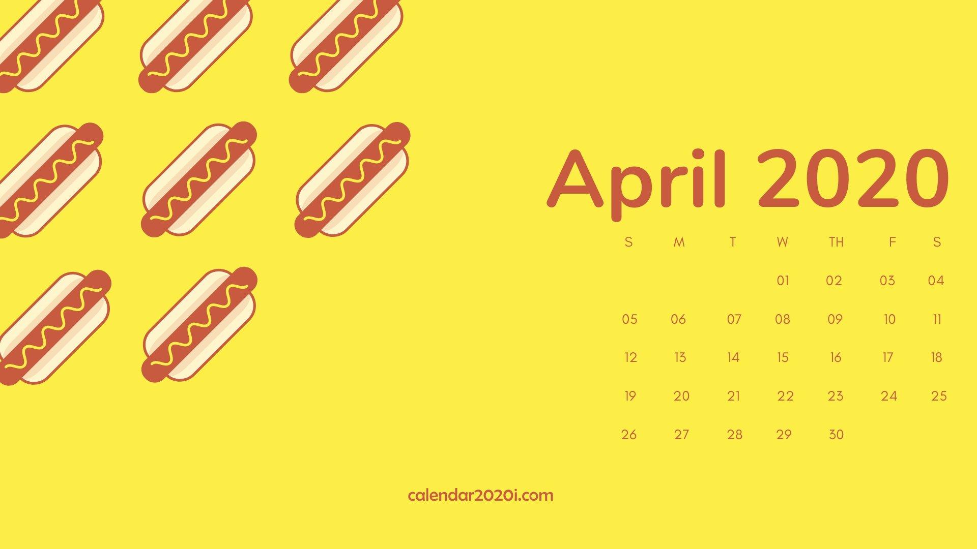 April 2020 Calendar Desktop Wallpaper