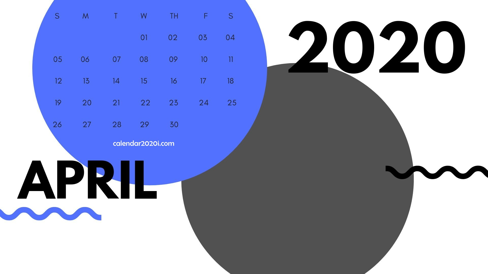 April 2020 Monthly Printable Calendar