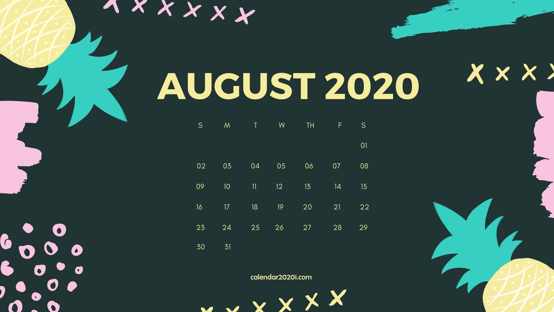 August 2020 Calendar Desktop Wallpaper