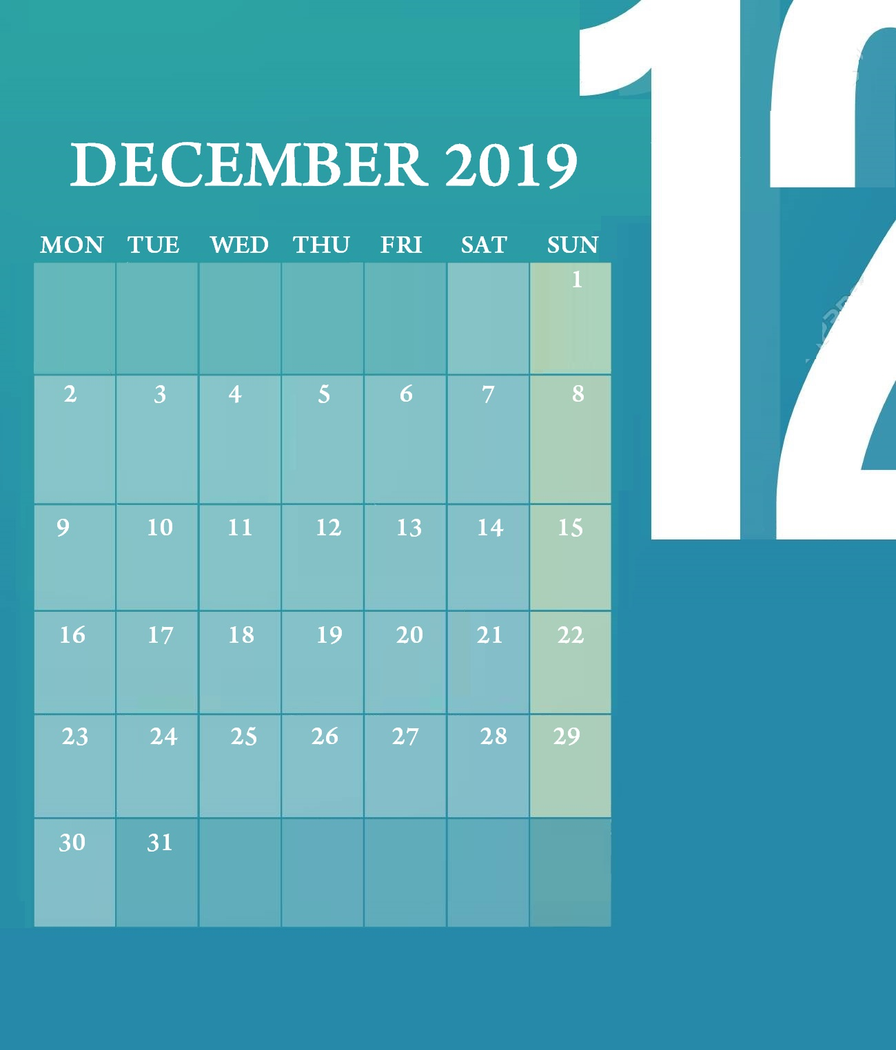 Beautiful December 2019 Desk Calendar