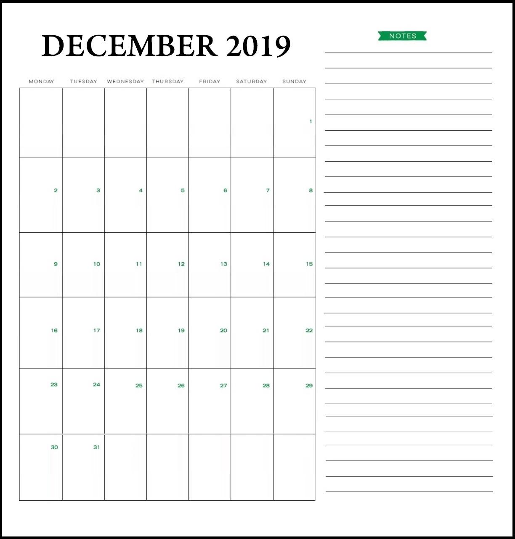 Blank December 2019 Word Calendar