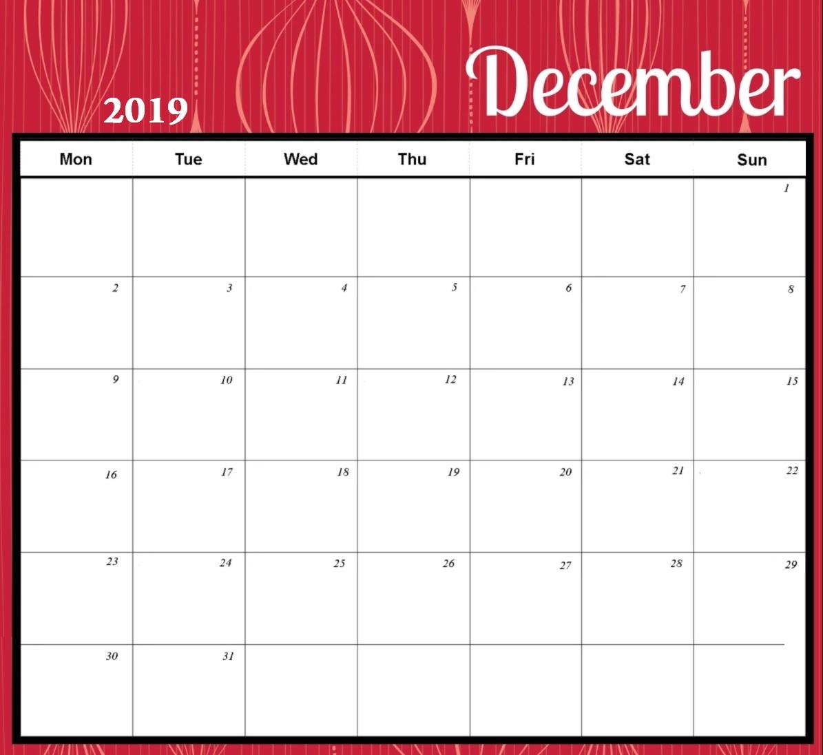 Cute December 2019 Desk Calendar