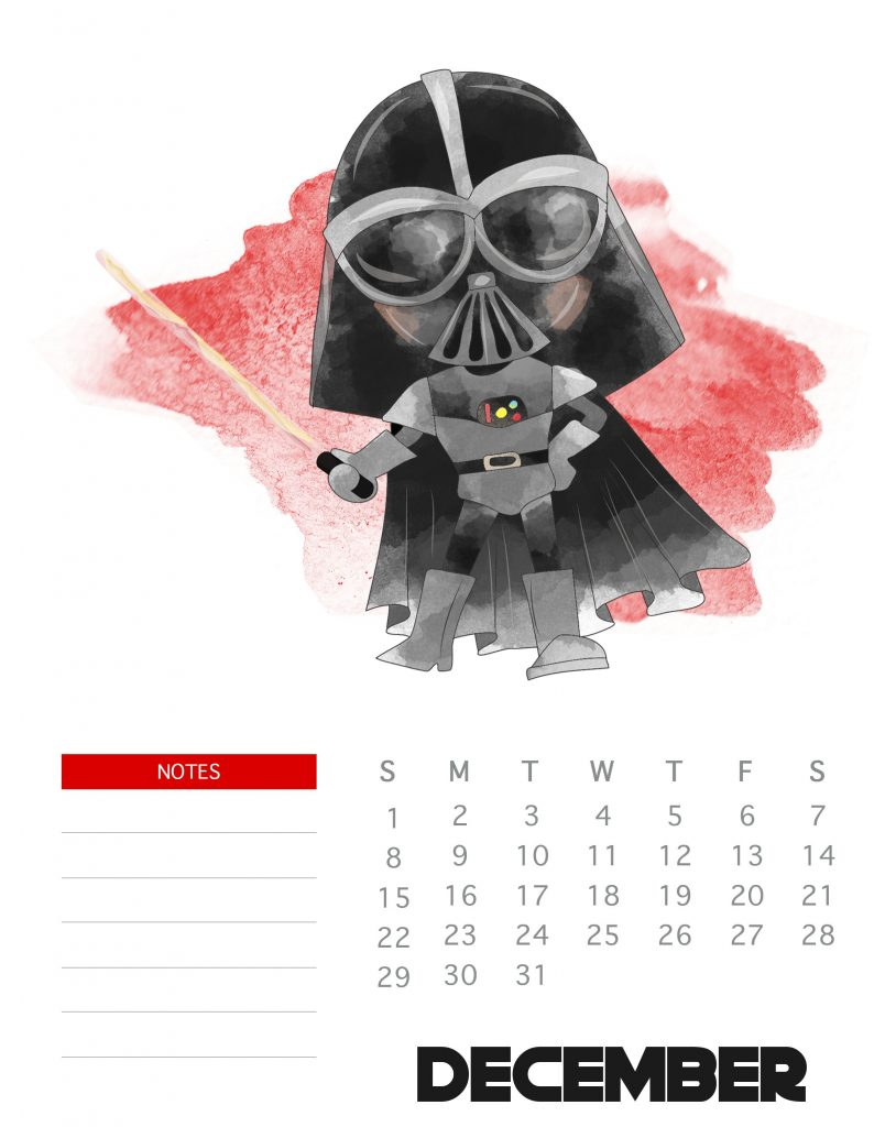 Cute December 2019 Star Wars Calendar