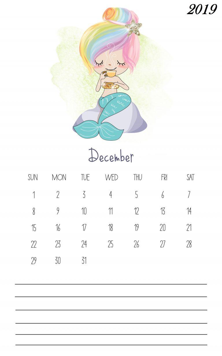 Cute December 2019 Wall Calendar
