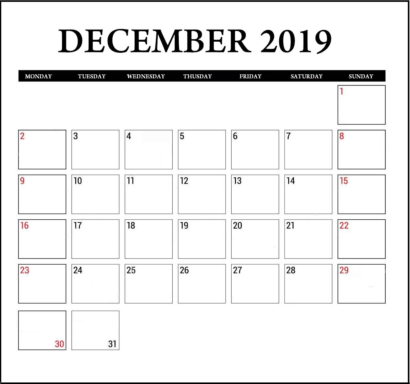 December 2019 Calendar Editable