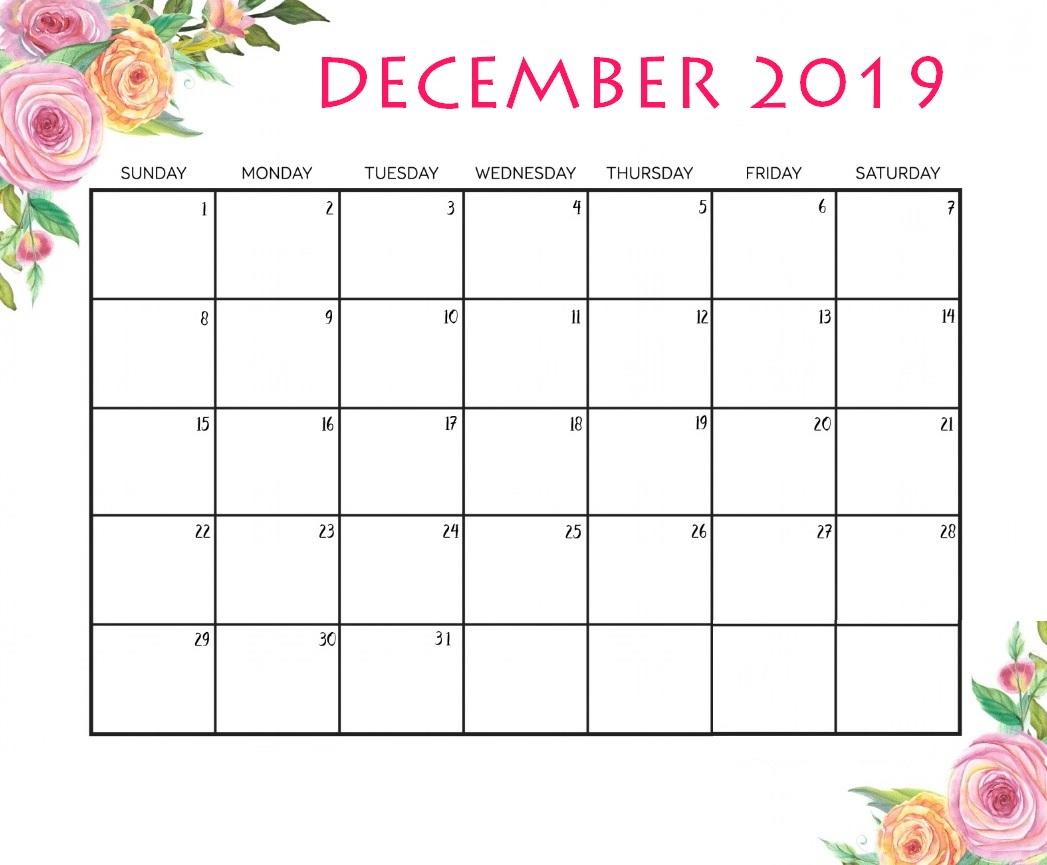 December 2019 Floral Desk Calendar