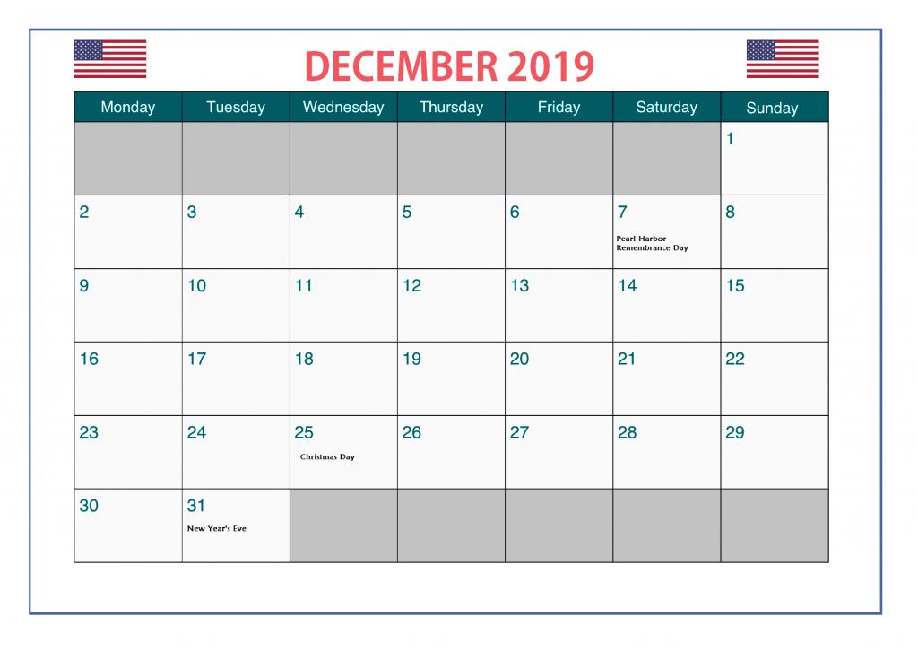 December 2019 USA Bank Holidays