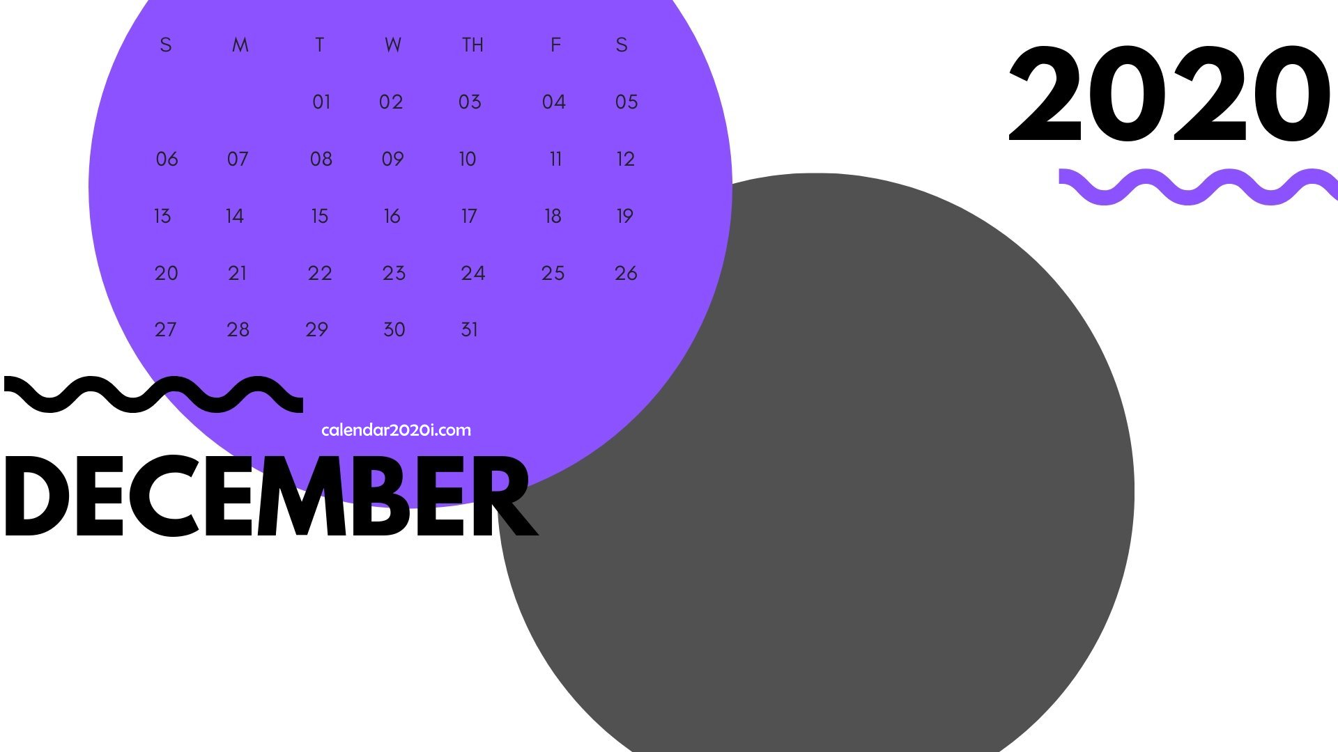 December 2020 Monthly Printable Calendar