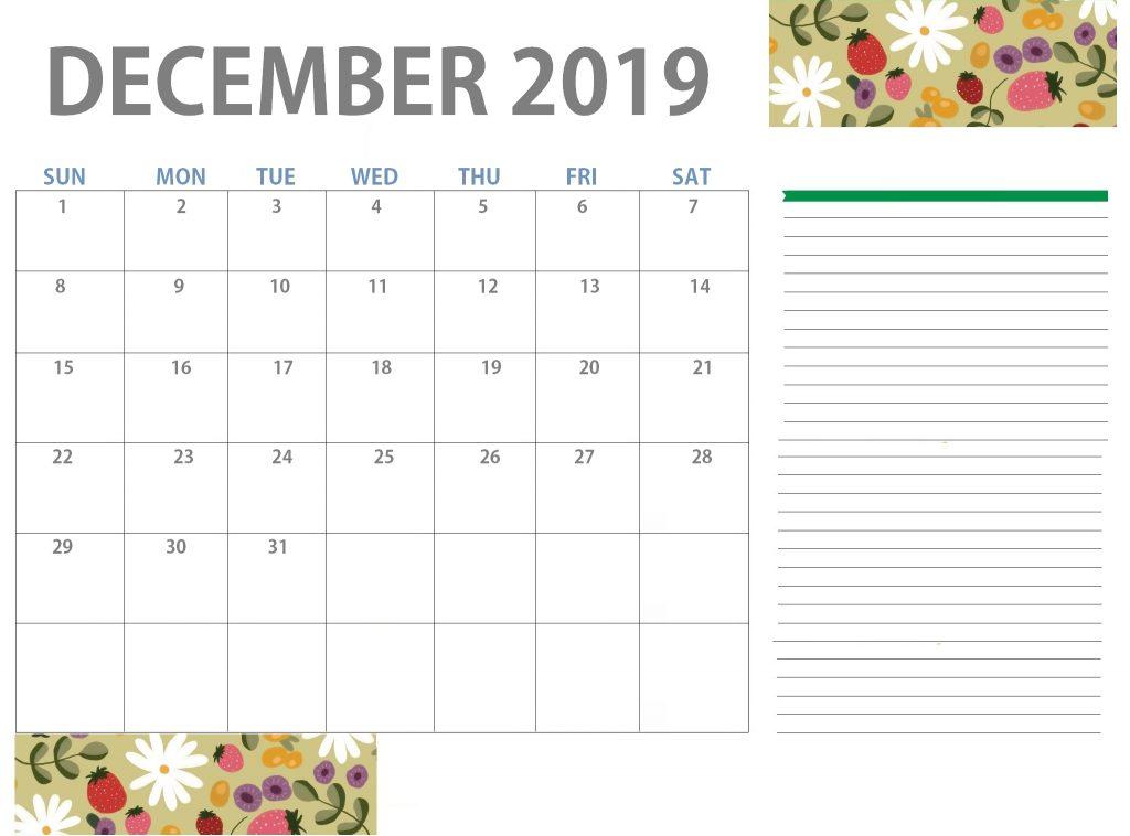 Floral December 2019 Calendar