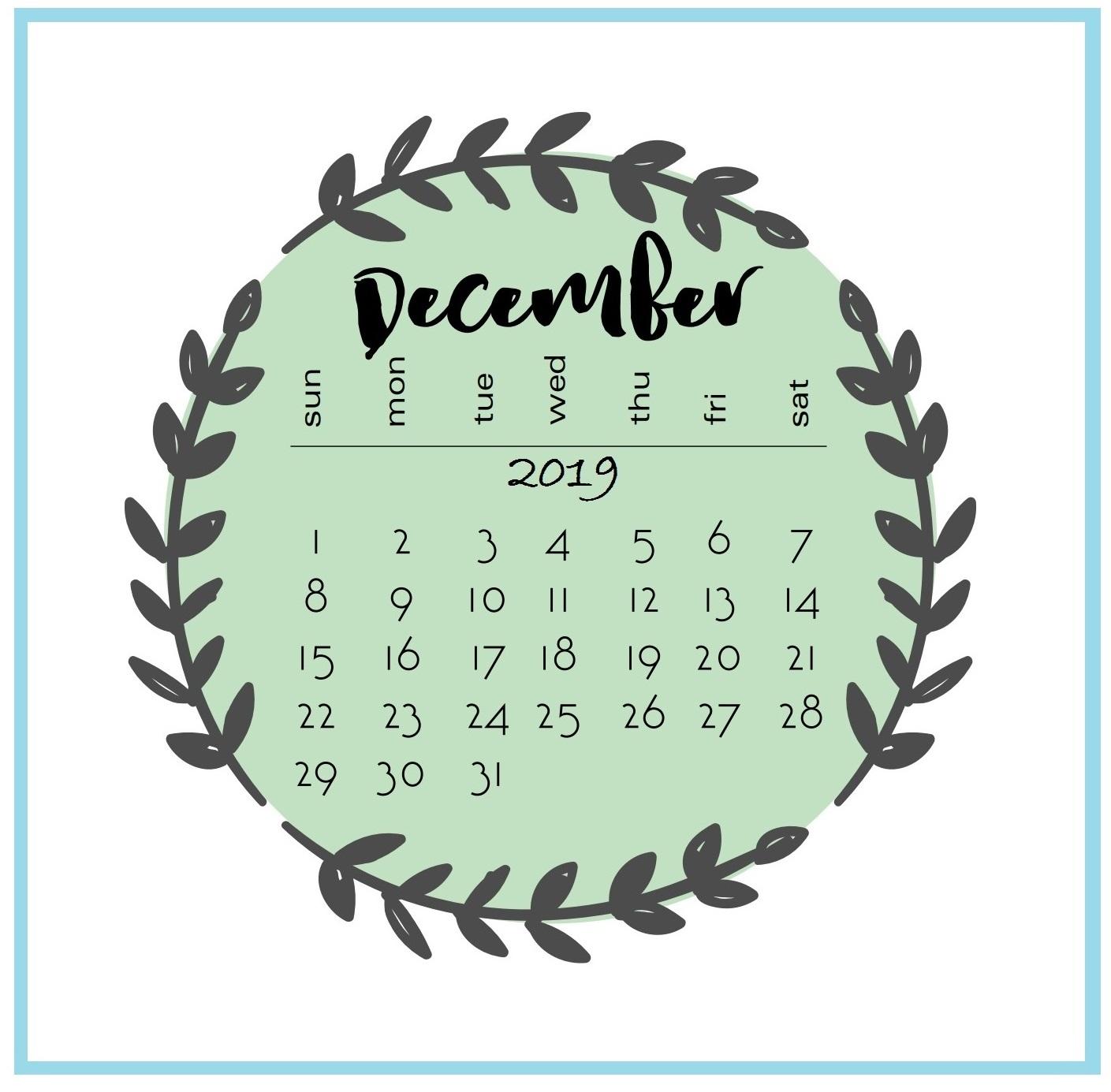 Floral December 2019 Cute Calendar