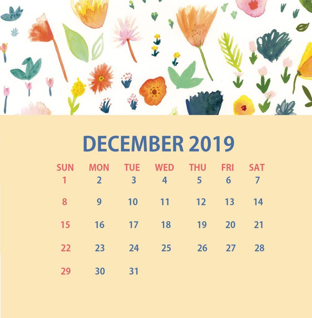 Floral December 2019 Wall Calendar