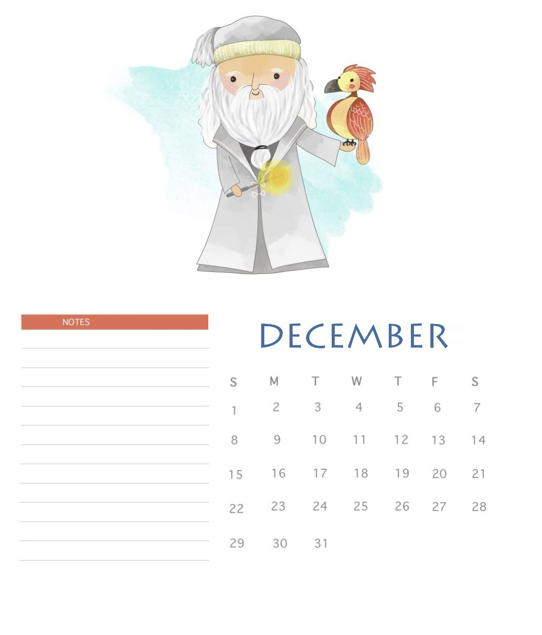 Harry Potter December 2019 Cute Calendar