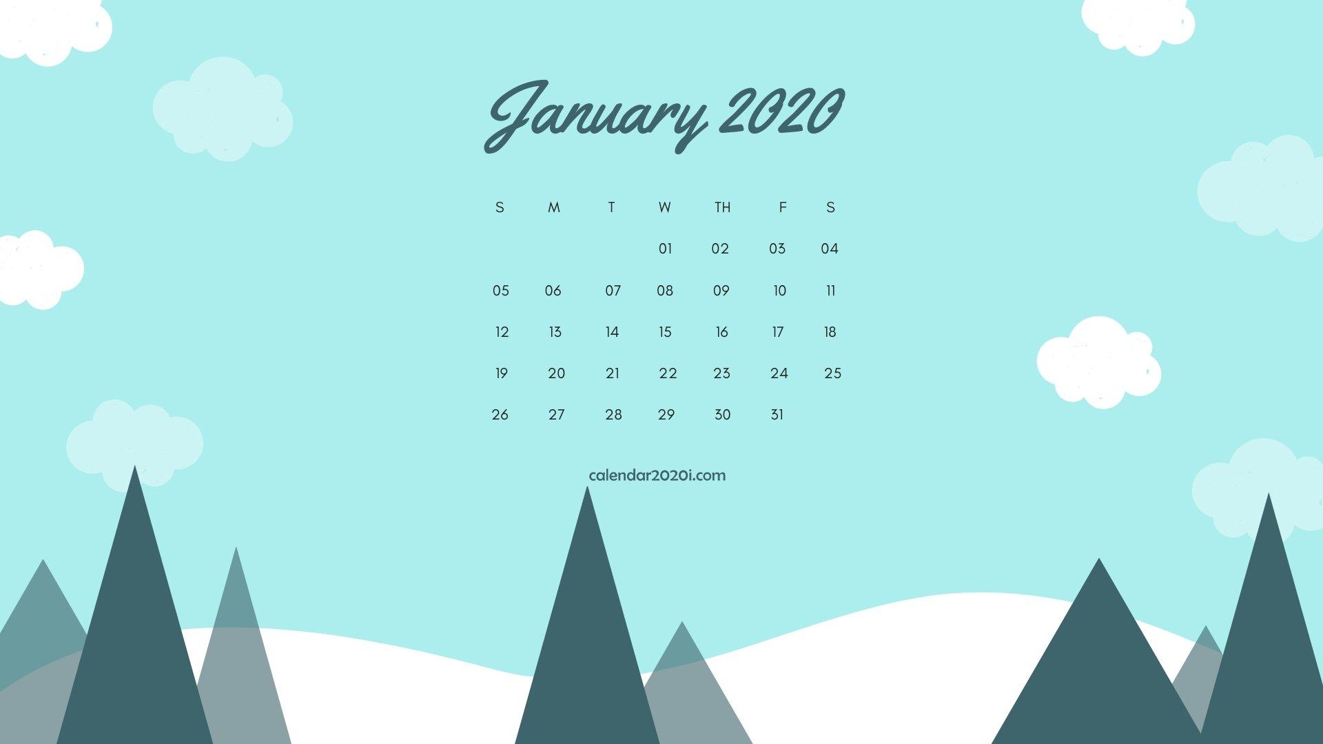 January 2020 Calendar Desktop Wallpaper