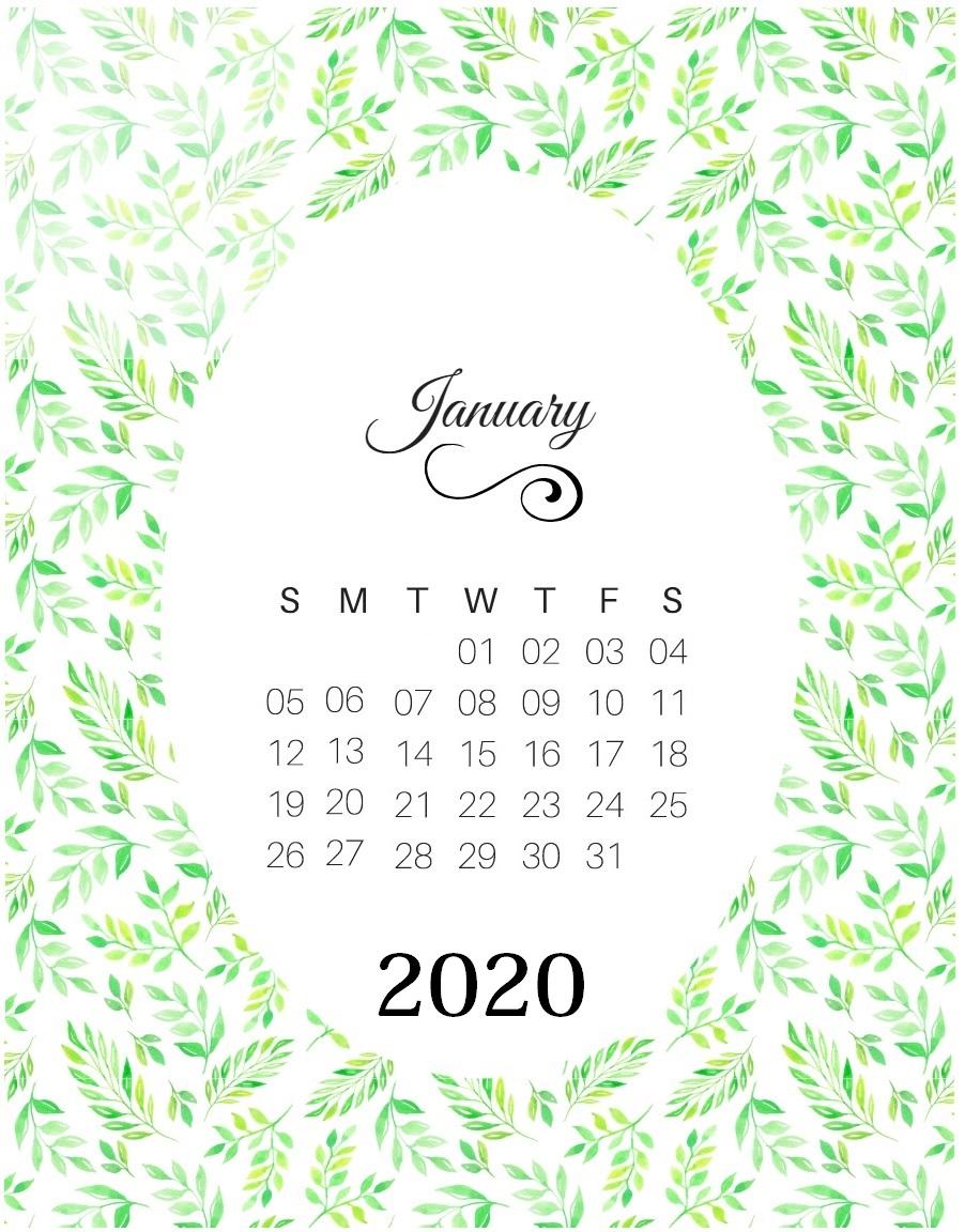 January 2020 Desk Calendar Template