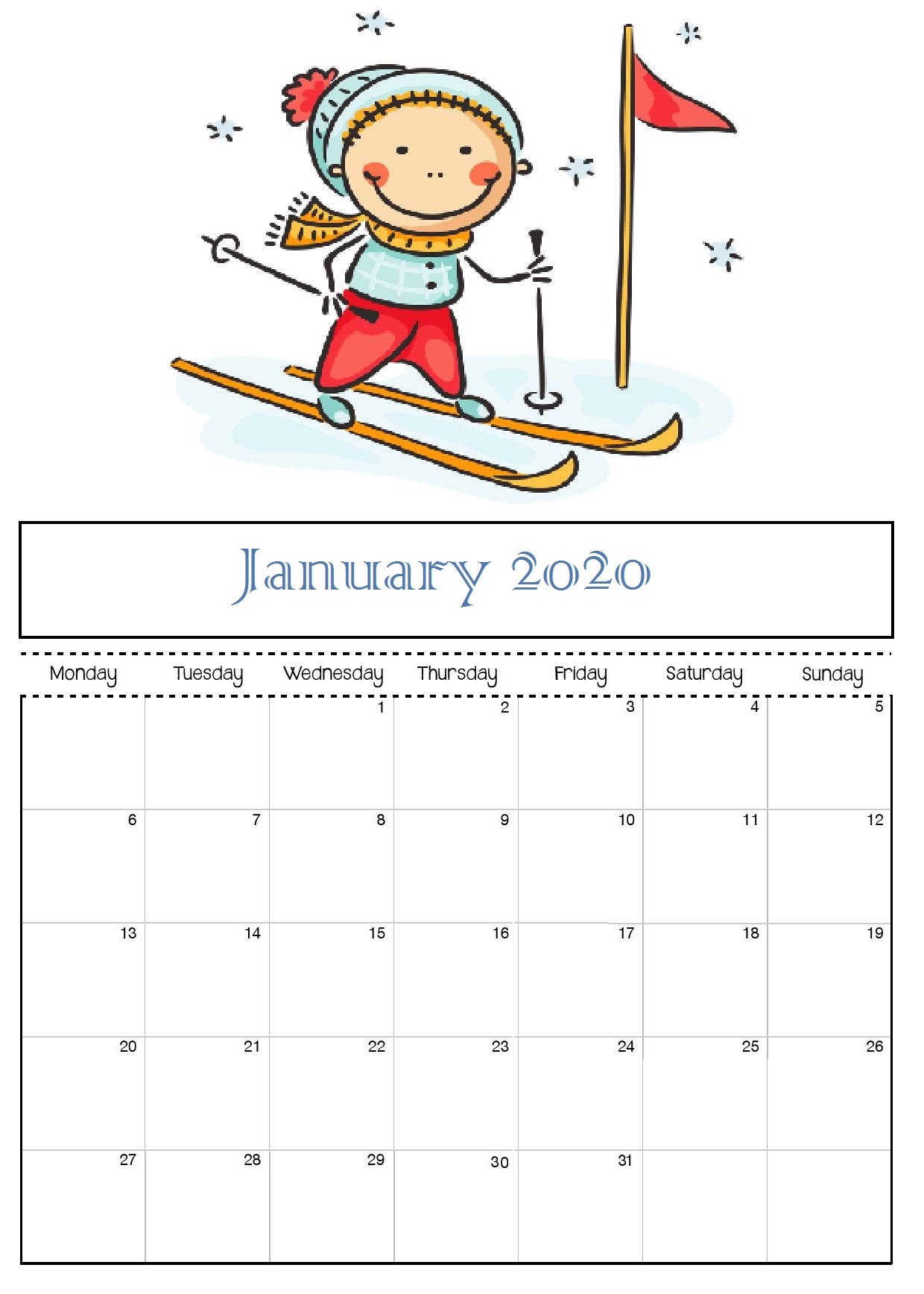 January 2020 Office Wall Calendar