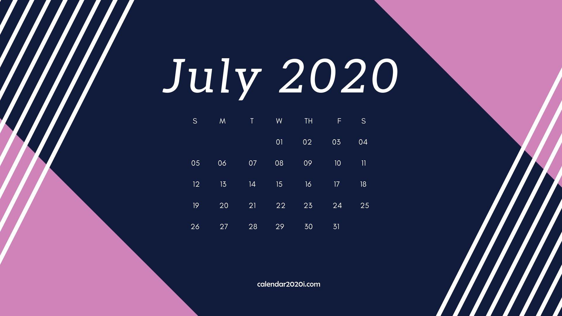 July 2020 Calendar Desktop Wallpaper